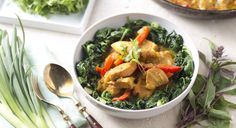 Coconut Chicken Curry with Wilted Spinach (leave out the tomatoes and peppers)