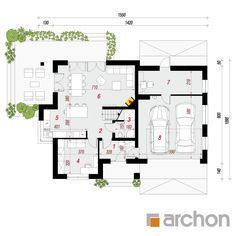 gotowy projekt Dom w miłowonkach rzut parteru Modern House Plans, Modern House Design, Design Case, Home Decor Kitchen, Floor Plans, How To Plan, Architecture, House Styles, Decoration