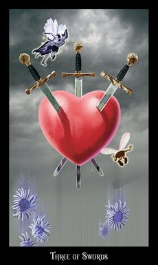 When the Three of Swords is dealt in a reading, it causes a visceral reaction. This is a brutally tough card; there is no polite or soft way to put it. When the Three of Swords turns up in a reading, it is like a sucker punch to the stomach. It hurts. This card, more than any other, illustrates the pain and loss that the querent is experiencing at this time. What you need to understand is that you will have to take the pain into your heart, accept it, shed your tears, and then move beyond…