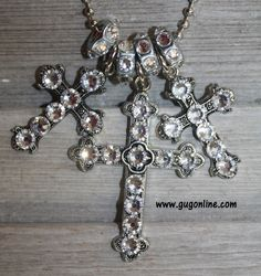 Clear Crystals on Three Silver Crosses with Spacers on Long Chain $44.95 www.gugonline.com