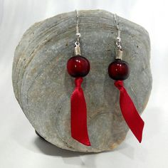 Red Ribbon and Red Bead Drop Earrings on Silver Plated Hooks