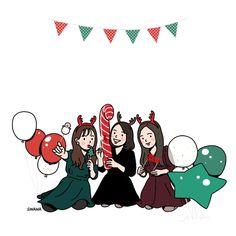 Super Ideas line art illustration friends