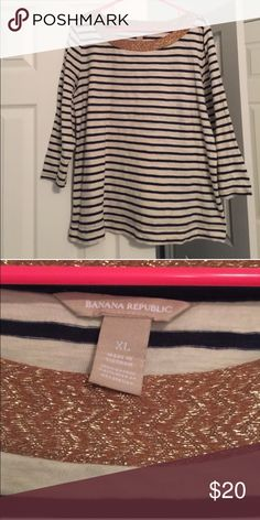 Preppy sailor top In good used condition, this preppy J. Crew style sailor top goes with everything and every season. True to size, very slight piling under the arms. Super cute! Banana Republic Tops
