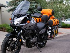V strom dl suzuki packed with tent & drybags & ready to go camping.