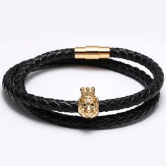 Men's Genuine Leather Bracelets Titanium Steel Clasp Golde Lion Head CZ Charms Cuff Bracelet Bangles For Women Jewelry