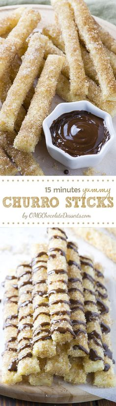15 Minutes Churro Sticks – easy, crispy sticks made with puff pastry, rolled in melted butter and coated with cinnamon-sugar mixture, served with warm chocolate dipping sauce