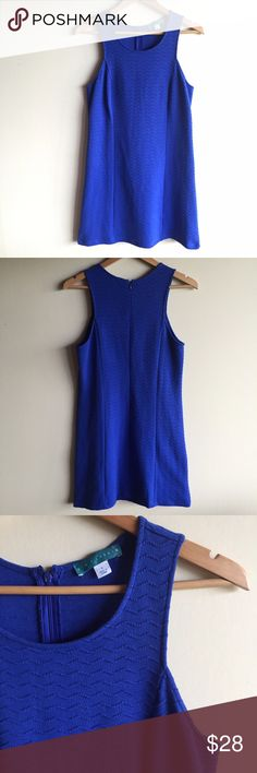 "Pin & Larkin textured blue shift dress Beautiful blue dress in a chevron textured stretchy fabric. Sleeveless, back zip, machine washable. Measures 18"" from underarm to underarm and 35"" long. Excellent condition! Pim & Larkin Dresses"