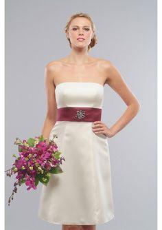 New arrivel hot sale design Satin Strapless A-Line bridesmaid dress
