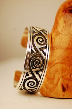 Navajo – Sterling Silver Overlay Water, Wind and Mountain Symbol Bracelet by Tommy Singer