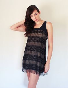 Bohemian fringe dress vintage flapper style lace by Minxshop $160 ; can request custom (longer) order
