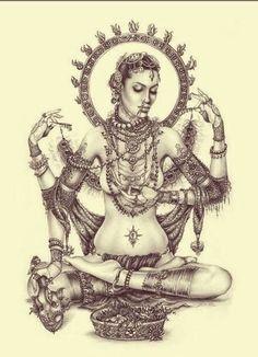 Shakti : the manifestation of divine feminine creative power, sometimes referred to as 'The Great Divine Mother' in Hinduism. On the earthly plane, Shakti most actively manifests through female embodiment and creativity/fertility. Devine Feminine, Sacred Feminine, Goddess Tattoo, Goddess Art, Tantra, Los Muertos Tattoo, Divine Mother, Shiva Shakti, Feminine Tattoos