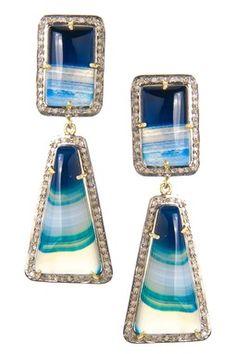 Rainbow Chalcedony & White Diamond Double Drop Earrings