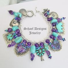 Schaef Designs turquoise amethyst & sterling Silver Native American Charms Bracelet | New Mexico NEW