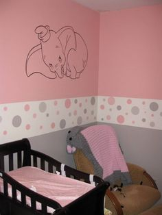 Baby girls pink and grey nursery with baby Dumbo