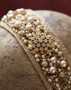Large Beaded Pearl Headpiece  Bridal Headpiece  Style by LaKrause, $275.00