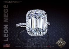 811 halo ring featuring an emerald cut diamond by Leon Mege.