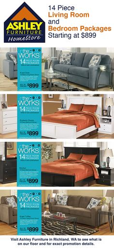 ashley furniture 14 piece living room sale curtain ideas 3 windows 56 best promotions sales images october 22 28 2013 and bedroom packages starting at 899 your ashleyfurniture store in richland wa promotion livingroom