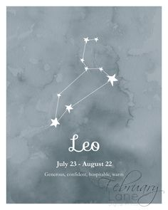 Leo Zodiac sterrenbeeld Wall Art Printable 8 x 10 Instant