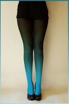Ko-Ko hand dyed Ombre Tights in Peacock blue UK