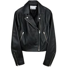 PEBBLED LEATHER CLASSIC JACKET (€1.050) ❤ liked on Polyvore featuring outerwear, jackets, tops and leather jackets