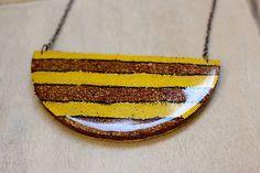 Martinuska / Yellow stripes/cork necklase