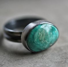 Fox Turquoise Ring, Teal Blue Green Natural Nevada Turquoise Oxidized Recycled Argentium Sterlng Silver Ring4 - Size 7 via Etsy.
