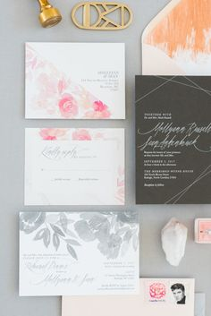 One and Only Paper — Mollyann + Sean's geometric, floral, watercolor,...