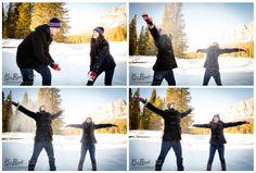 Banff/Lake Louise Winter engagement, lifestyle portraits, Castle Mountain, Bow River, Outdoor portrait, snow fight, www.kimpayantphotography.com