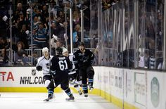San Jose Sharks forward Logan Couture is excited after scoring a third period goal (April 20, 2014).