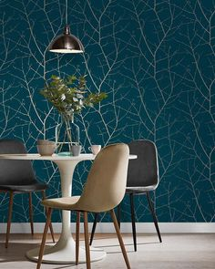 For the Home Boreas Teal Wallpaper Wallpaper Lounge, Dining Room Wallpaper, Green Wallpaper, Modern Wallpaper, Home Wallpaper, Feature Wallpaper Living Room, Bedroom Wallpaper Teal, Modern Kitchen Wallpaper Ideas, Recycling