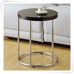Monarch Round Chrome Metal Accent Table - Glossy Black Small table for entryway chairs
