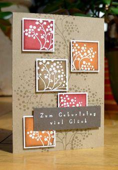 handmade card on kraft ... inchies with emboss resist leave negative space ... brown on kraft background leaves positive image ... like the look ...