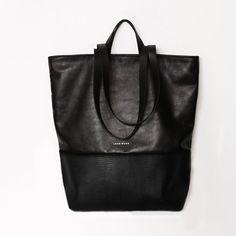 Lagarto de bolso Shopper negro, Real cuero, minimalista, Simple, único, moderno, clásico, regalo para ella