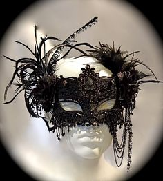 Black Marie Masquerade Mask Embellished Lace by Marcellefinery, $125.00