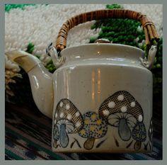 Seventies Mushroom Motif Ceramic Teapot Psychedelic Kitsch Fantasy Boho OOAK. $12.00, via Etsy.