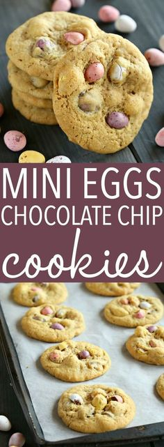 These Mini Eggs Chocolate Chip Cookies are the perfect easy snack or dessert for Easter! Made with the perfect soft and chewy chocolate chip cookie dough and stuffed with delicious candy-coated Mini Eggs, these cookies are beautiful, colorful, and perfect Mini Desserts, Easy Easter Desserts, Easter Recipes, Holiday Recipes, Delicious Desserts, Yummy Food, Mini Eggs Recipes, Easter Treats, Tasty