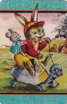 Coles Swap Card Comical Rabbit & Mouse on Turtle Blank Back from the 1950 s Rare sold $17.50