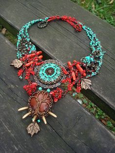 My Playground, freeform, turquoise, coral Bead Embroidery Jewelry, Beaded Jewelry Patterns, Beaded Embroidery, Diy Embroidery Designs, Vintage Embroidery, Artisan Jewelry, Handmade Jewelry, Beaded Earrings, Beaded Bracelets