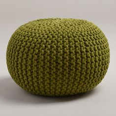 One of my favorite discoveries at WorldMarket.com: Oasis Knitted Pouf green for $79 have tan and orange for family room
