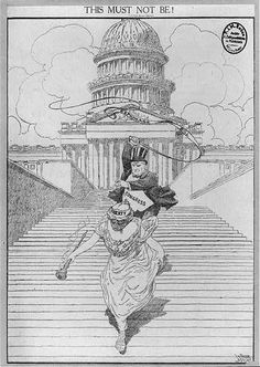 """This must not be!"" An American political cartoon protests the Congress's strict censorship in the 1917 Espionage Bill."