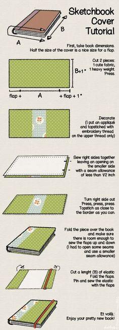 Sketchbook cover tutorial Ideia: coser o elástico à contracapa