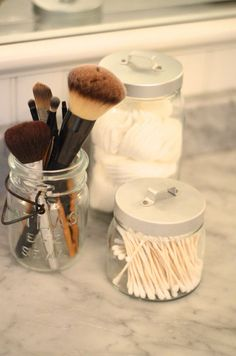 How to Organize Beauty Products: Use Jars for Tools