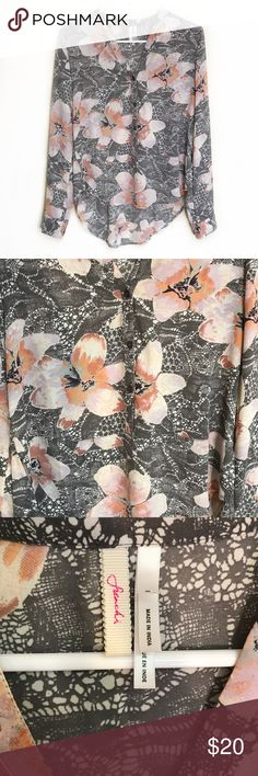 "NORDSTROM Frenchi long sleeve floral blouse small Excellent used condition Nordstrom Frenchi blouse with gray and pink floral pattern, size small. Armpit to armpit 18"", length in front 23"", length in back 26"" Frenchi Tops Blouses"