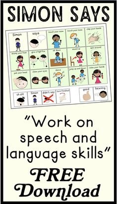 Simon Says is such a fun game to play in speech therapy! Some of my students needed visual supports or communication boards to participate! This is why I made this simple Simon Says board! Speech Therapy Activities, Language Activities, Articulation Activities, Speech Language Pathology, Speech And Language, Receptive Language, Speech Room, Listening Skills, Speech Therapy