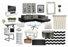 černo-bílý design by inanka. Create your own interior design moodboard now! Outdoor Furniture Sets, Outdoor Decor, Mood, Interior Design, Table, Check, Home Decor, Nest Design, Decoration Home