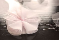 How to make a paper flower. Chiffon & Tulle Flower - Step 5