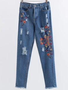 Blue Embroidery Ripped Raw Hem Jeans — € -------------------color: Blue size: L,M,S Torn Jeans, Distressed Denim Jeans, Hem Jeans, Ripped Girls, Floral Jeans, Blue Skinny Jeans, Blue Jeans, Blue Denim, Ankle Length Pants