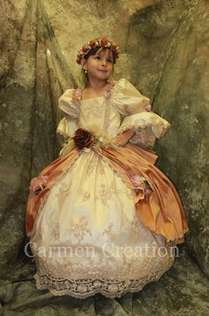 Our Renaissance Princess Dress is a handmade one of a kind Victorian Dress, comes in all sizes. It is made of silk, french lace, and decorated