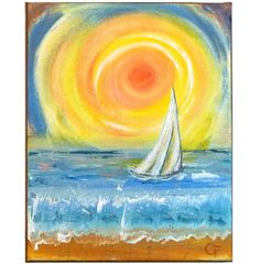 Sailboat painting ocean sunset painting by TheEscapeArtist on Etsy, $40.00