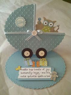 Baby owl in carriage -- owl builder punch, oval framelits, perfect polka dots EF, paper piercing templates. #stampinup #owlpunch #babycard